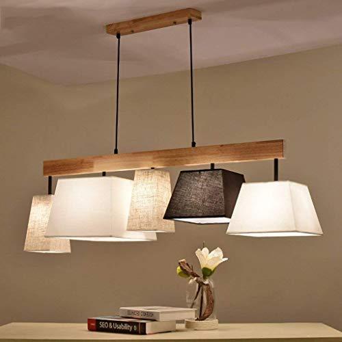 Lámpara colgante cuadrada Pantalla de tela clásica 5 llamas Buena calidad Lámpara colgante ajustable en altura Diseño moderno Sala de estar Comedor Dormitorio Lámpara colgante E27 Base L118cm * W30cm