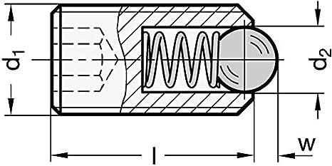 Ganter Normelemente GN 615.3-M8-KSN 3-M8-KSN-Federnde Druckst/ücke mit Innensechskant Silber 2 St/ück Gewinde d1: M8