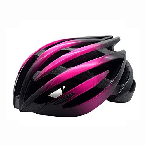 LXJ Casco de ciclismo para hombre, cómodo, transpirable, casco de bicicleta de carretera, totalmente moldeado, color negro y blanco, Hombre, negro/rosa