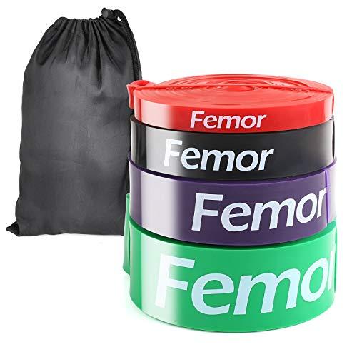 femor Resistance Bands Fitnessband, Premium Widerstandsband [4er Set], Klimmzugbänder mit Tasche, Gymnastikband mit Übungsanleitung für Krafttraining & Fitness, Muskelaufbau, Pull up usw.