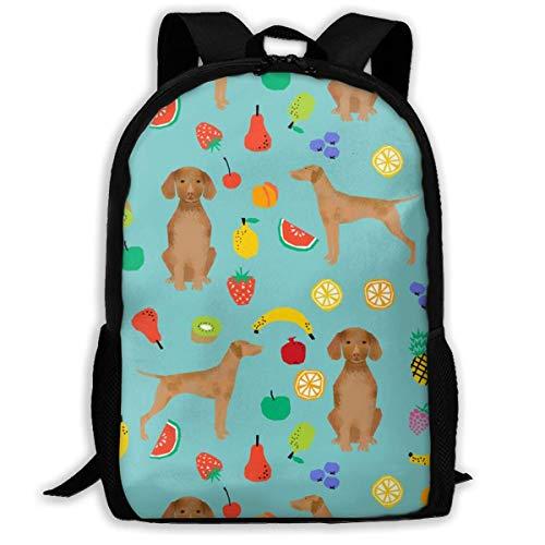 Homebe Vizsla Mochila de viaje para perro, diseño de frutas y veranos, color rosa, para adultos, para escuela, casual, para uso al aire libre, para computadora portátil, unisex, 11 x 17 x 6.3 pulgadas