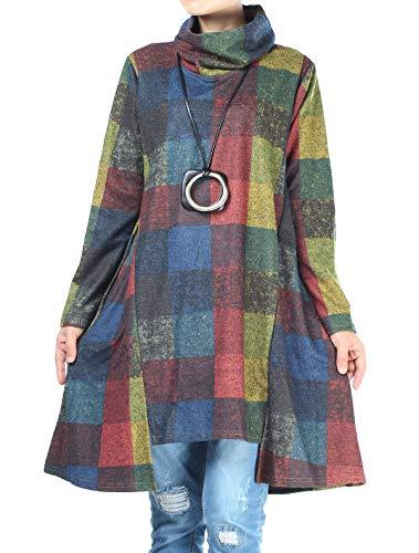 Vogstyle Damen Winter Printed Langarm Vintage Kleider Art 5-Blau XXL