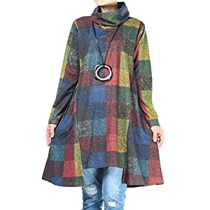 Women's Checked Plaid Tunic Tops Turtleneck Shirt Dress