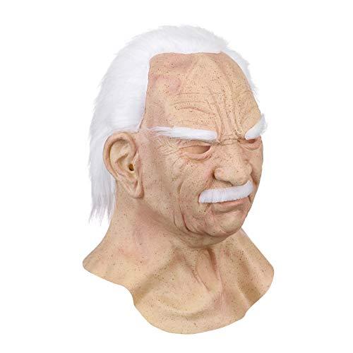Mscara de viejo, 100 mscaras de ltex natural realistas para hombre viejo, mscara divertida para Halloween, mscara de anciano supersuave para adultos (hombre viejo)
