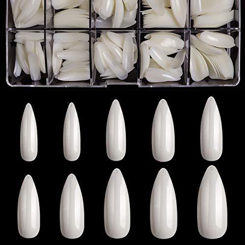 Stiletto Nails Long Fake Nails - Acrylic Nails Stiletto Shaped Nail Tips BTArtbox 500pcs Full Cover False Nail Natural Artificial Nails with Case for Nail Salons and DIY Nail Art, 10 Sizes