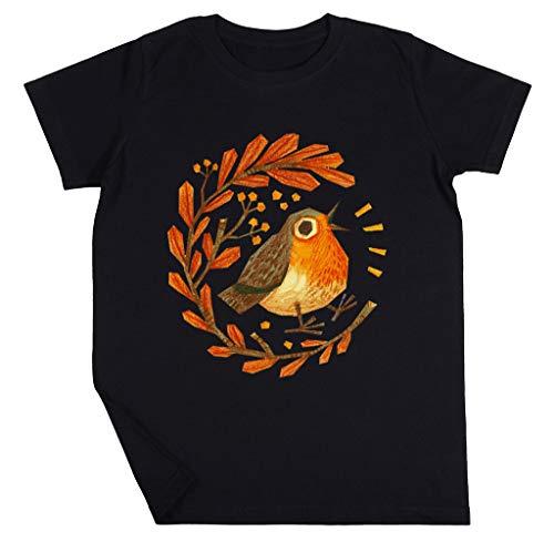Früh Vogel Jungen Mädchen Unisex Kinder Schwarz T-Shirt Kurzarm Kids Black T-Shirt