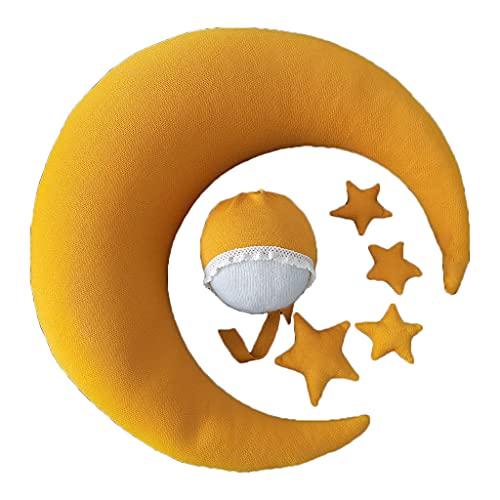 Xuebai Baby Hat Posando Frijoles Luna Almohada Juego de Estrellas Accesorios de Fotografía para Bebés Recién Nacidos Sombrero de Bebé Almohada de bebé Gran Estrella 3 Estrellas pequeñas de 15#