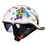 Smilfree Cascos Moto Baratos Casco Moto Vintage Half Shell Casco Medio Abierto con Visera CertificacióN Dot/ECE Estilo Retro Medio Casco De Motocicleta Cruiser para Hombre Y Mujer (M~XL)