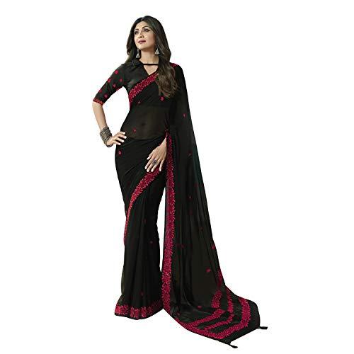 Aarrah Women's Plain Weave Georgette Saree With Blouse Piece (SHILPA2558SSSR05_Black)