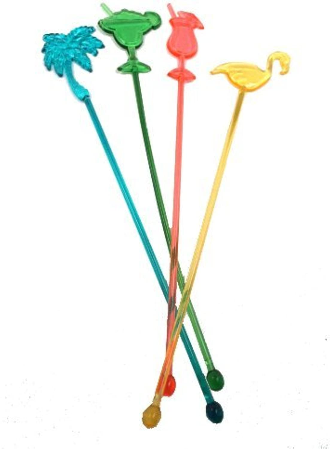 25 Assorted Tropical Luau Tiki Drink Stir Swizzle Sticks Bar  Palm Tree, Margarita, Frozen Drink Cocktail, Flamingo