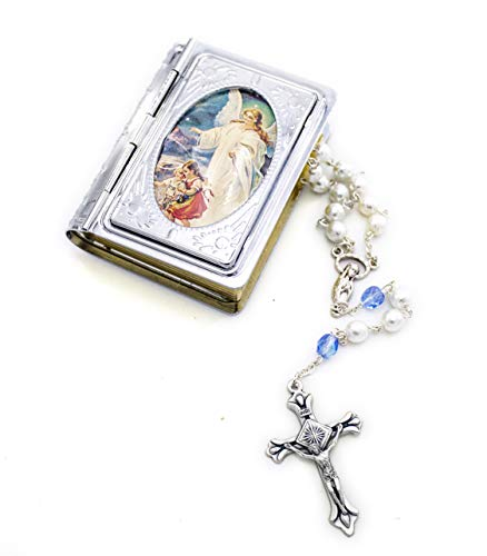 Guardian Angel Bible Rosary Box and Rosary Necklace Gift Set. Includes Silver Metal Bible Book Rosary Case with White and Light Blue Beads Silver Metal Rosary