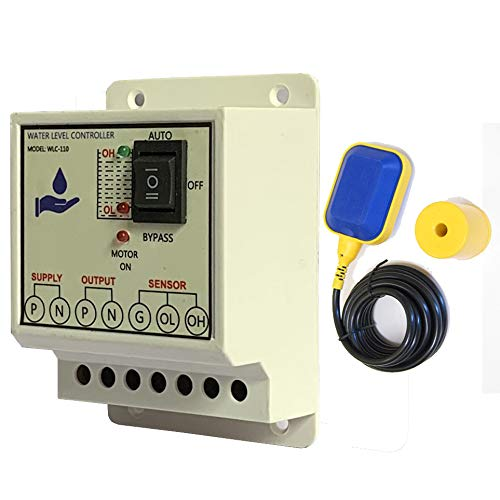 MICROTAIL Plastic Fully Automatic Water Level Controller with One Float Switch sensor, Single Phase 230V AC (White)