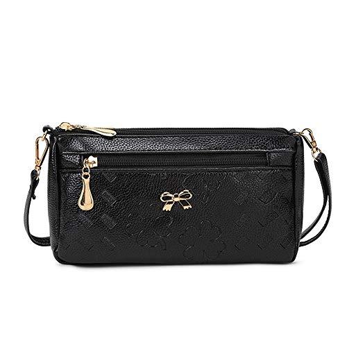 Las mujeres pequeñas y medianas bolsas de mensajero de un solo hombro de moda de las mujeres Bolsas de gran capacidad para cambiar el teléfono móvil bolsa de compras, Negro (Negro) - 5000222322565
