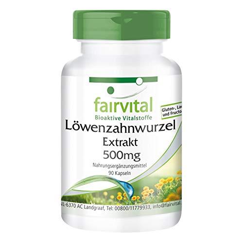 Löwenzahn Kapseln - 500mg Löwenzahnwurzel-Extrakt pro Kapsel - HOCHDOSIERT - 10-fach konzentriert - VEGAN - 90 Kapseln