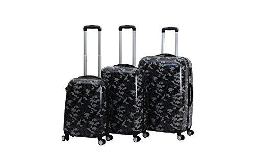 C&T HOT CASE Reisekoffer Trolley Hartschalen Polycarbonat mit Zahlenschloss und 4-Zwillingsrollen 20' 24' 28' 3er Set (20'/S, Camouflage shcwarz)