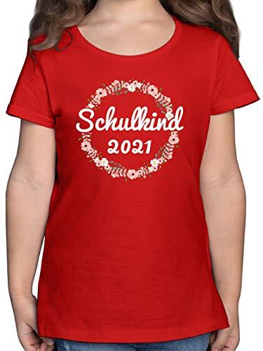Schulkind Einschulung und Schulanfang - Schulkind 2021 Blumenkranz - 128 (7/8 Jahre) - Rot - Tshirt 1. klasse - F131K - Mädchen Kinder T-Shirt