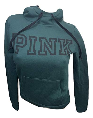 Victoria's Secret Pink Perfect Sherpa Pullover Hoodie Color Dark Green Size Small NWT