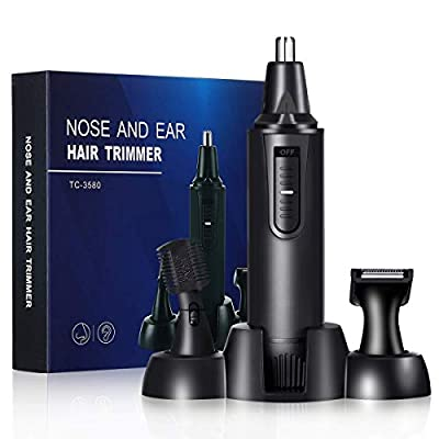 Nose and Ear Hair Trimmer,Painless Trimmer Eyebrow, Sideburn Beard Trimmer Kit for Men, IPX7 Waterproof Dual Edge Blades for Easy Cleansing,Battery-Operated, Nose Hair Clipper (Black)