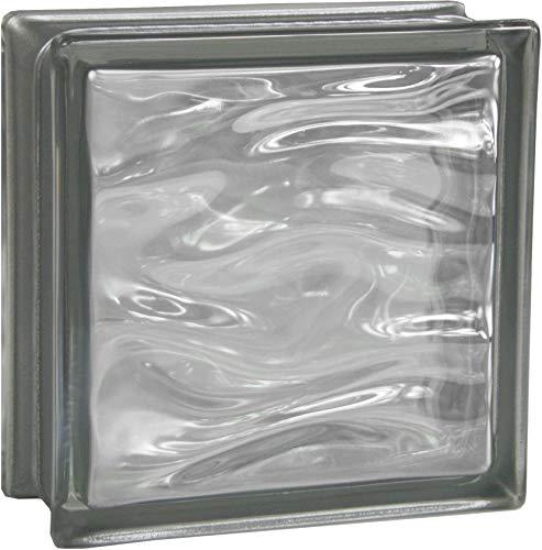 Fuchs Design 6 Stück Glassteine BM Glassteine AQUA Reflex Anthrazit Glasstein glänzend 19x19x8 cm