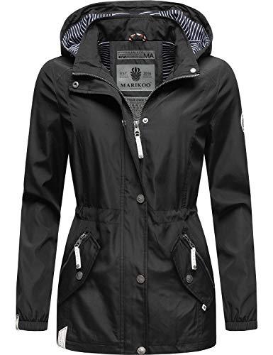 Marikoo Damen Übergangsjacke Outdoorjacke mit Kapuze Dein Kussmäulchen Schwarz Gr. XS