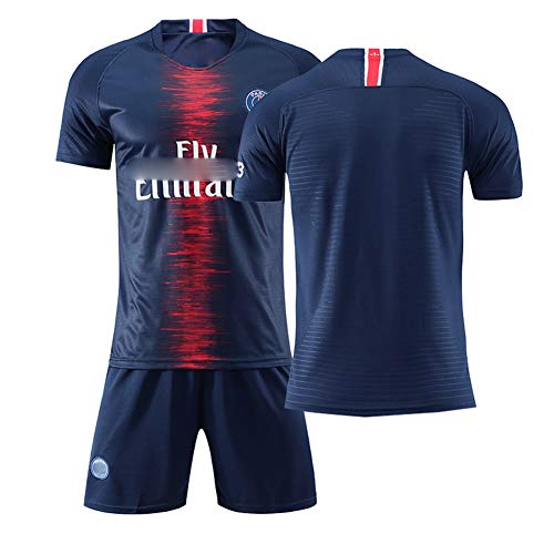 # 10 Neymar # 7 Mbappé Fußball Trikots,(Heim & Auswärts) # 11 di María # 9 Cavani 18-19 Fußballanzug für Kinder Herren Jungs T-Shirt Shorts Darkblue-XS