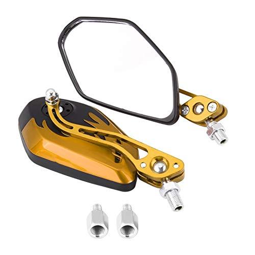 1 par de espejos retrovisores universales de aluminio con patrón de llama espejos laterales para motocicleta M8M10(Amarillo)