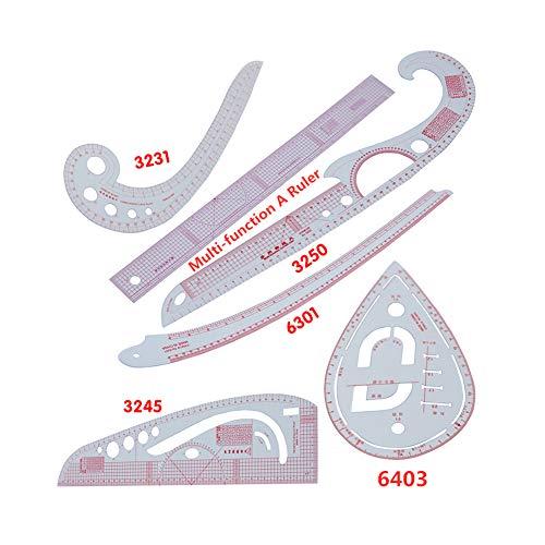 Proumhang Paquete de 6 reglas de costura multipropósito para coser, confeccionar prendas y hacer patrones Juego de reglas de costura personalizadas (centímetro/pulgadas)
