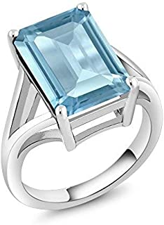 925 Sterling Silver Sky Blue Topaz Women's Solitaire Ring 8.70 Cttw Gemstone Birthstone 14X10MM Emerald Cut (Available 5,6,7,8,9)