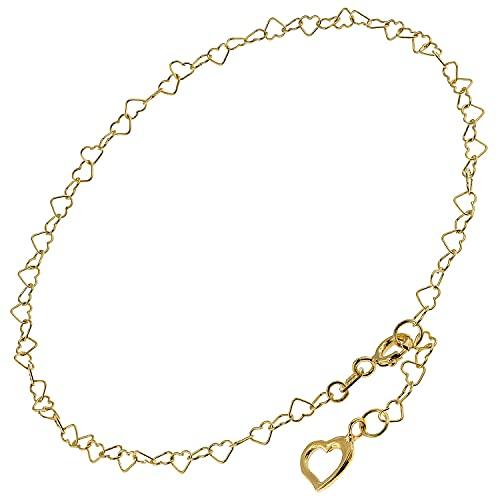 trendor Fußkettchen Herz Gold auf Silber 925 mit Grünem Quarz modischer Fußschmuck für Damen, feine Kette aus vergoldetem Sterlingsilber, 51197