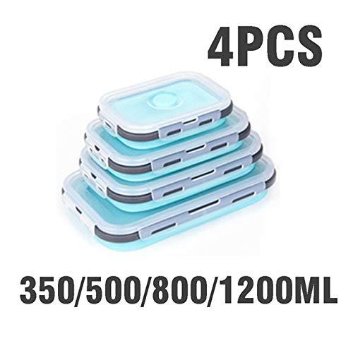 Bruce Dillon Silikon Bento Box Set Stapelbarer Bento Lebensmittelzubereitungsbehälter Faltbarer Bento Box Mikrowellenherd - blau B-4St