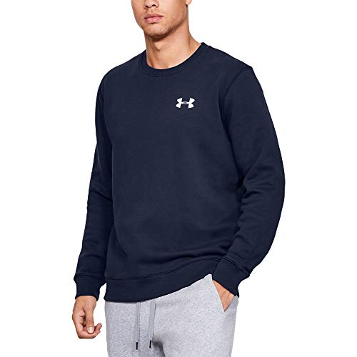 Under Armour Rival Solid Fitted Crew, Felpa Uomo, NavyBlu (Midnight Navy/White 410), L