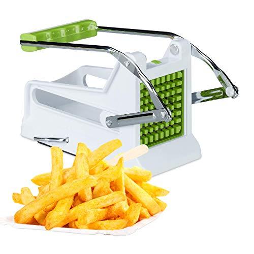 Relaxdays 10022330, manueller Gemüsestiftler, weiß-grün Pommesschneider, Profi Kartoffelschneider mit 2 Edelstahl Einsätzen
