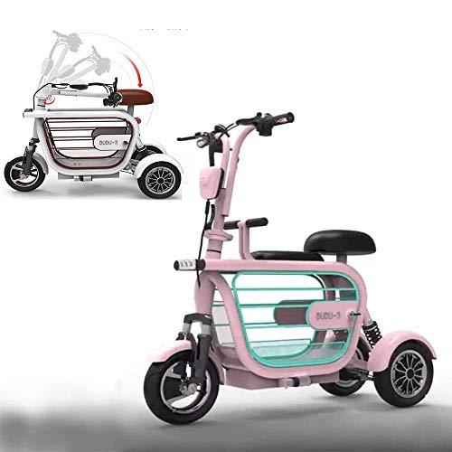WJSW Zusammenklappbares elektrisches dreirädriges Rollerpedal dreirädriges Fahrrad Mini Ladies Outdoor Travel 20A Lithiumbatterie/60-70KM/Ladung 280KG, Pink