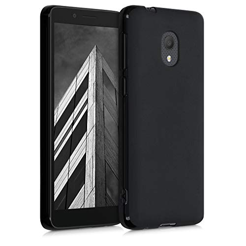 kwmobile Hülle kompatibel mit Alcatel 1C (2019) - Hülle Silikon - Soft Handyhülle - Handy Hülle in Schwarz matt