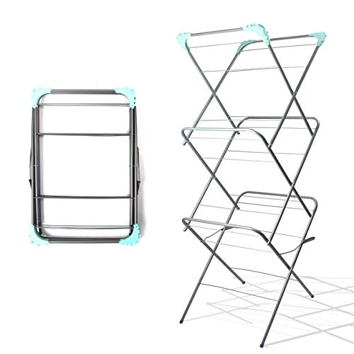 Lettuce Eat 3 Tier Clothes Airer Horse Winged Tall Tower Folding Laundry Dryer Rack Powder Coated Steel Frame Indoor Home Use Inc. 20 Free Pegs