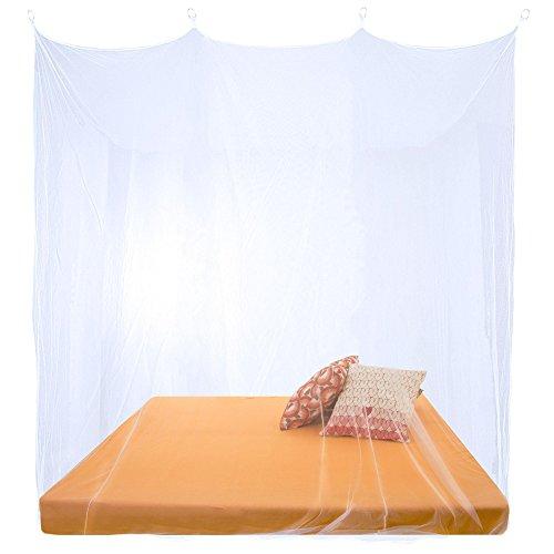 Sumkito Moskitonetz XXL Doppelbett weiß Mückennetz eckig Bettvorhang rundum geschlossen Insektenschutz