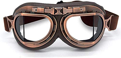 Motorcycle Goggles,bike goggles,Game Eyeshields,Off-Road Goggles,Motorbike Vintage Goggles Aviator Pilot Style Motorcycle Cruiser Scooter Goggle Bike Racer Cruiser Touring Goggles (Copper, Clear)