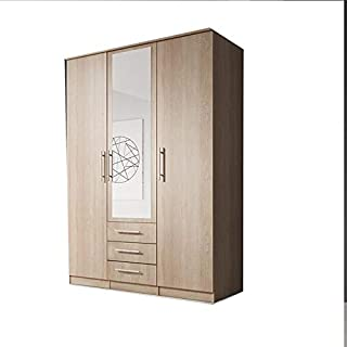 E-MEUBLES Armoire de Chambre avec 3 Portes | Penderie (tringles) avec étagères (LxHxP): 150x210x64 Ruth 3D (chêne Sonoma)