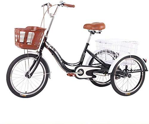 20pulgadas Triciclos Para Adultos Bicicleta De Una Velocidad 20pulgadas 3 Pedal De Ciclo De La Bici Del Triciclo De La Defensa De La Rueda Con La Cesta Delantera De La Cesta De La Compra -negro