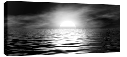 SEASCAPES LARGE MODERN CANVAS PICTURE BLACK WHITE GREY mounted and ready to hang 44 x 20 inches (113 x 52 cm)