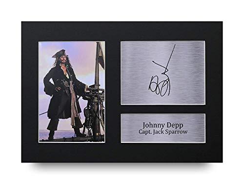 HWC Trading Johnny Depp A4 Sin Marco Regalo De Visualización De Fotos De Impresión De Imagen Impresa Autógrafo Firmado por Pirates of The Caribbean Los Aficionados Al Cine