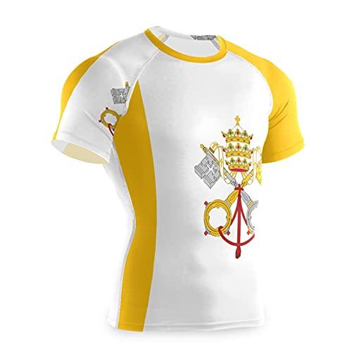 Magnesis - Maglietta da allenamento a maniche corte con bandiera della città del Vaticano Multi L