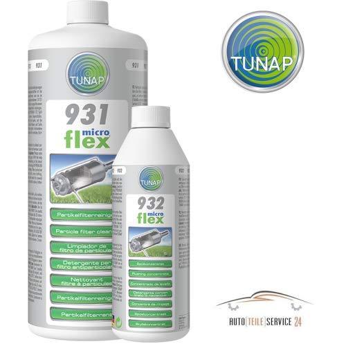 Tunap Ensemble Pratique pour Filtre à Particules de Nettoyage Microflex 931 Filtre à Particules Nettoyant 1L + 932 PFR spülung 500 ML pour Essence et Diesel