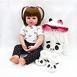 Nicery, bambola neonato realistica in morbido vinile/silicone, corpo in tessuto, 45cm, con bocca magnetica, tuta bianca a forma di panda, giocattolo per bambini dai 3 anni di età in su, RD45C098W