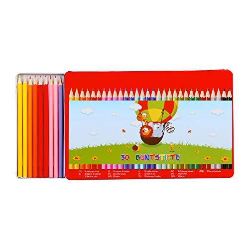Relaxdays 10023880 Buntstifte Set, 30 Stück, 15 Farben, Malstifte für Kinder, in Metallbox, Zeichenset, Holz, Farbstifte, bunt