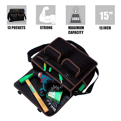 Copechilla Werkzeugtasche professionelle,multifunktional und großer Kapazität,35X28X10CM,double layer verdickung wasserdicht 600d oxford,Schwarz,für elektriker,wartungsmann,multimeter,bohrmaschine
