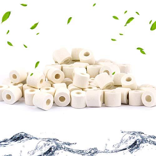 QUCHENG Anillos de cerámica para Acuario, filtros de Bio, Anillos de cerámica Premium para Todos los Tipos de peceras y estanques, 1000 g (Blanco 1000g)