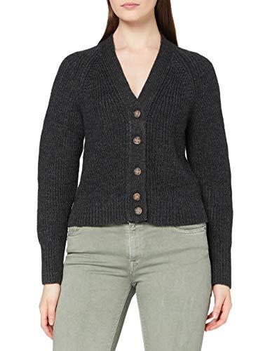Superdry Womens Jessica VEE Neck Cardigan Sweater, Dark Grey Marl, 14