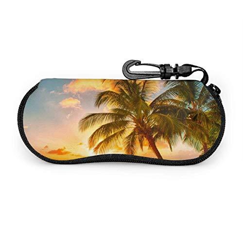 Palm Beach Sunset Gafas de sol con hebilla de bloqueo Bolsa suave Estuche para gafas con cremallera de tela de buceo ultraligero