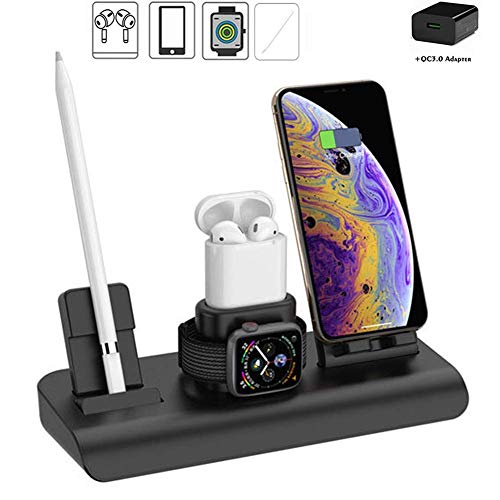 FMOGE 4 in 1 Wireless Charger Stand,Wireless Charging Station,Qi Fast Charger Dock for IWatch Series 5/4/3/2/1/Airpods/IPhone 11/11 Pro Max/XR/Xs/X/8/Samsung,Induction Chargers